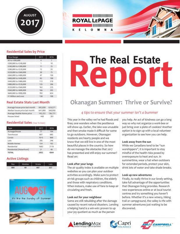 Royal LePage Kelowna's Real Estate Report - August 2017
